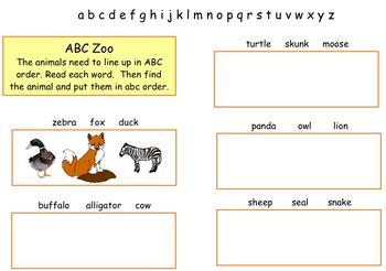 Kidspiration :  ABC Zoo, Beginning to alphabetize