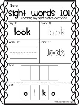 Kindergarten Sight Words Journeys Unit 6