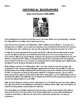 Kilby and Noyce Biography Article and (3) Assignments