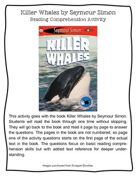 Killer Whales by Seymour Simon Informational Text Nonfiction Activity