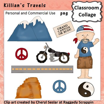 Killians Travels clip art - Color pers/com  mountains motorcycle peace C Seslar