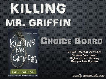Killing Mr. Griffin Choice Board Tic Tac Toe Novel Activit