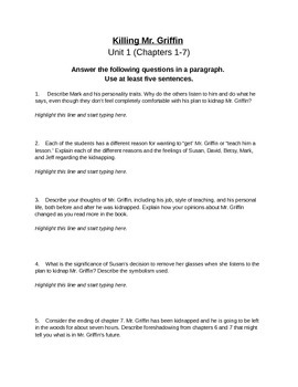 Killing Mr. Griffin by Lois Duncan - Chapters 1-7 Exam