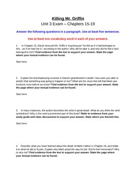 Killing Mr. Griffin by Lois Duncan - Chapters 15-19 Exam