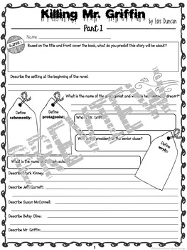 Killing Mr. Griffin by Lois Griffin - Comprehension Book Report