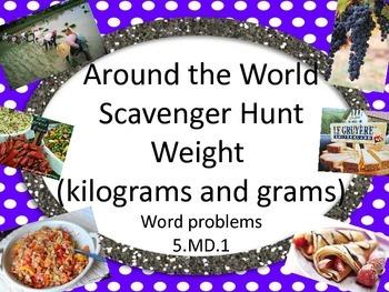 Kilograms and grams scavenger hunt 5.MD.1