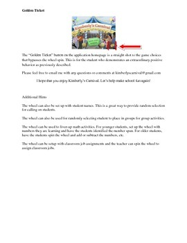 Kimberly's Carnival IPAD app Directions for Classroom Rewards System