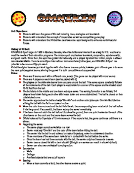 Kinball/Omnikin Handouts and Worksheet