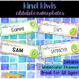 Kind Kiwis Watercolor Editable Nameplates