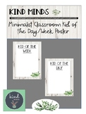 Kind Minds Minimalist Nature Theme Classroom Kid of the Day Week Poster