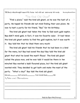 Kind Old Ghost Reading Passage, Fluency Practice + Running Record