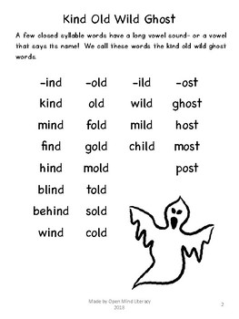 Kind Old Wild Ghost Multisensory Phonics Packet