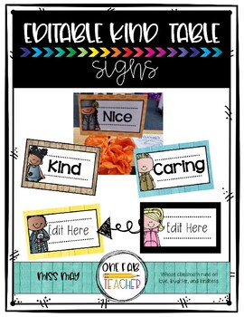 Kind Table Signs