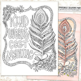 Kind Words Cost Nothing Coloring Page Printable, No Prep Activity Friendship