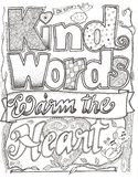 Kind Words Warm the Heart Coloring Sheet