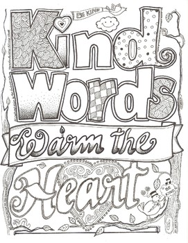 Kind Words Warm the Heart Coloring Sheet by Ms Gartrell\'s Art Studio