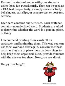 Kind of Noun Task Cards