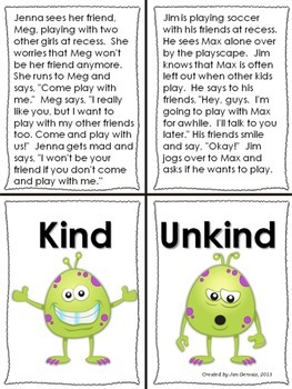 Kind or Unkind Mini Stories to Sort