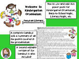Kindergarten Orientation PowerPoint Literacy Focus Back to School Literacy Night