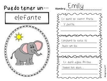 Elementary Persuasive Writing Template in Spanish
