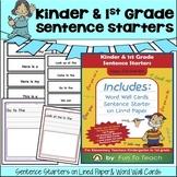 Kinder & 1st Grade Sentence Starters - Writing Prompts - Journal Prompts