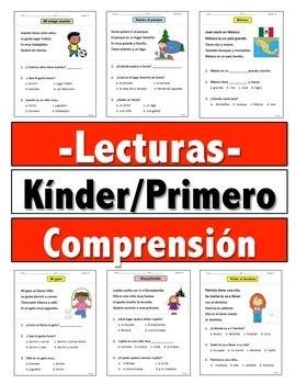 Reading Comprehension Passages Kinder-1st Grade (Lecturas en Español)