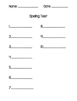 Freebie! Kindergarten & 1st Grade Spelling Test