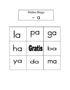 Kinder- 2nd Summer/RTI  SPANISH Bingo SILABAS Review with Vowel - /a/