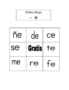 Kinder- 2nd Summer/RTI  SPANISH Bingo SILABAS Review with -Vowel - /e/