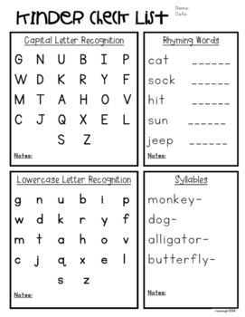 Kinder Academic Checklist