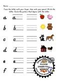 Kinder Alphabet Handwriting & Beginning Sound pre/post Assessment