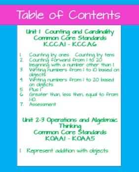 Kindergarten Kinder CCSS Math Assessments and Activities