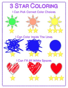 Kinder Coloring Guidelines - 3 Star Coloring Sign