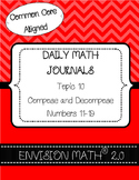Kinder Common Core Daily EnVision Math® Journals, Topic 10