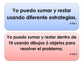 """Kinder Common Core -MATH Operations and Algebraic Think. """"I Can"""" Signs (Spanish)"""