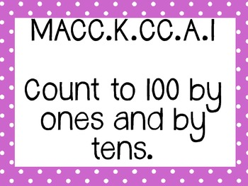 Kinder Common Core Math Posters Lilac