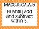Kinder Common Core Math Posters Orange