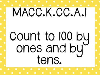 Kinder Common Core Math Posters Yellow