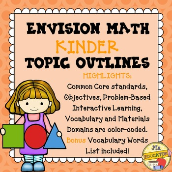 EnVision Math Common Core - Kinder Topics 1-16 Outlines