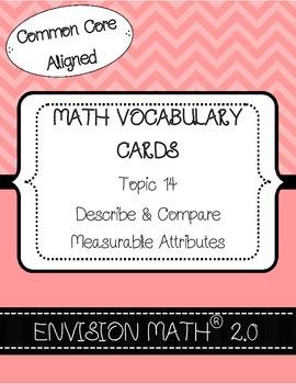 Kinder CommonCore Math Vocab Cards Topic 14-Describe&CompareMeasurableAttributes
