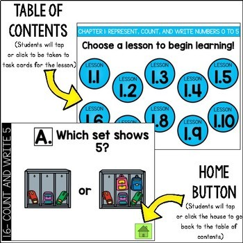 Go Math Kinder Digital Task Cards-Represent,Count, and Write Numbers 0 to 5