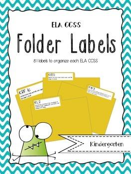 Kinder ELA CCSS Folder Labels
