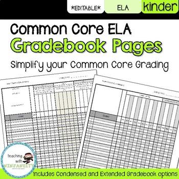 Kinder ELA Common Core Gradebook Pages **EDITABLE**
