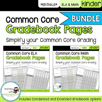 Kinder ELA and Math Common Core **EDITABLE** Gradebook Pag