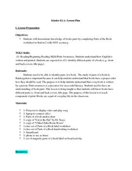 Kinder ELA: parts of a book- Weather