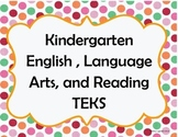 Kinder ELAR TEKS I can statements