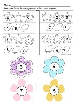 Counting, Number Words, Sequencing~ Kinder-Garden Flowers