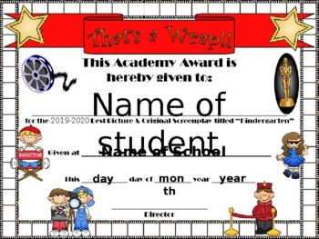 Kinder Hollywood Themed End of Year certificate