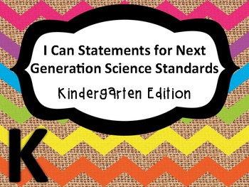 Kinder I Can Statements for NGSS