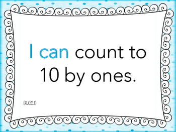 "Kinder ""I can"" MATH Learning Target Printables - Blue"